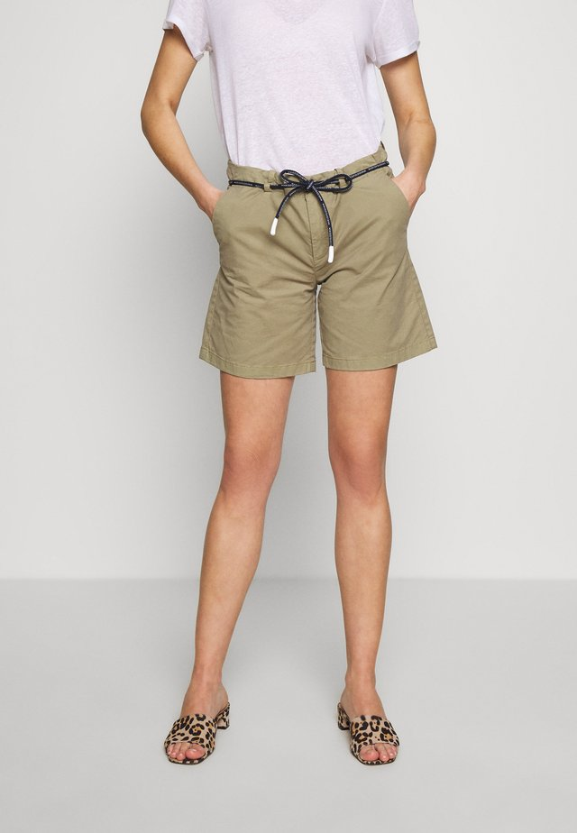 TURN UP BELT LOOPS ROUND DRAW STRING - Shorts - bleached olive