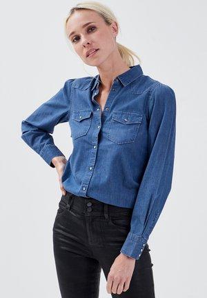 Button-down blouse - denim stone