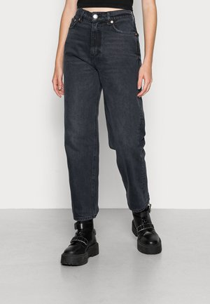 UNNI CROPPED - Straight leg jeans - washed black