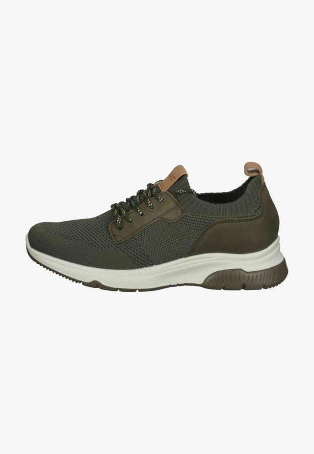 Sneakers laag - militär/cognac