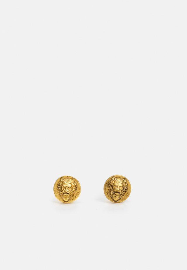 LION HEAD STUD UNISEX - Náušnice - antique gold-coloured