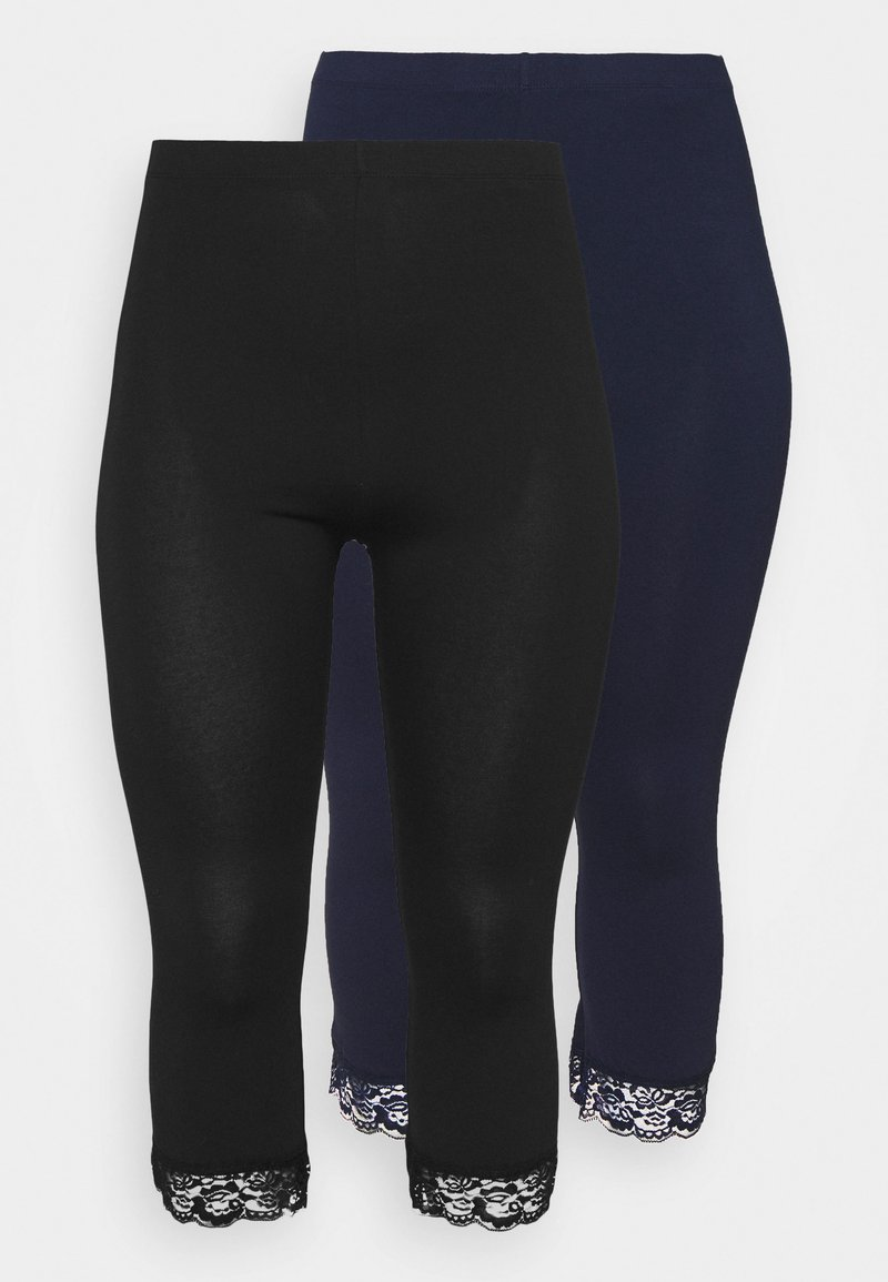 Anna Field Curvy - 2 PACK  - Leggings - black/dark blue