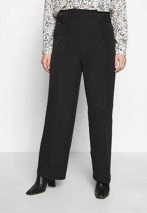 BELINDA BUCKLE WAIST WIDE LEG - Kalhoty - black