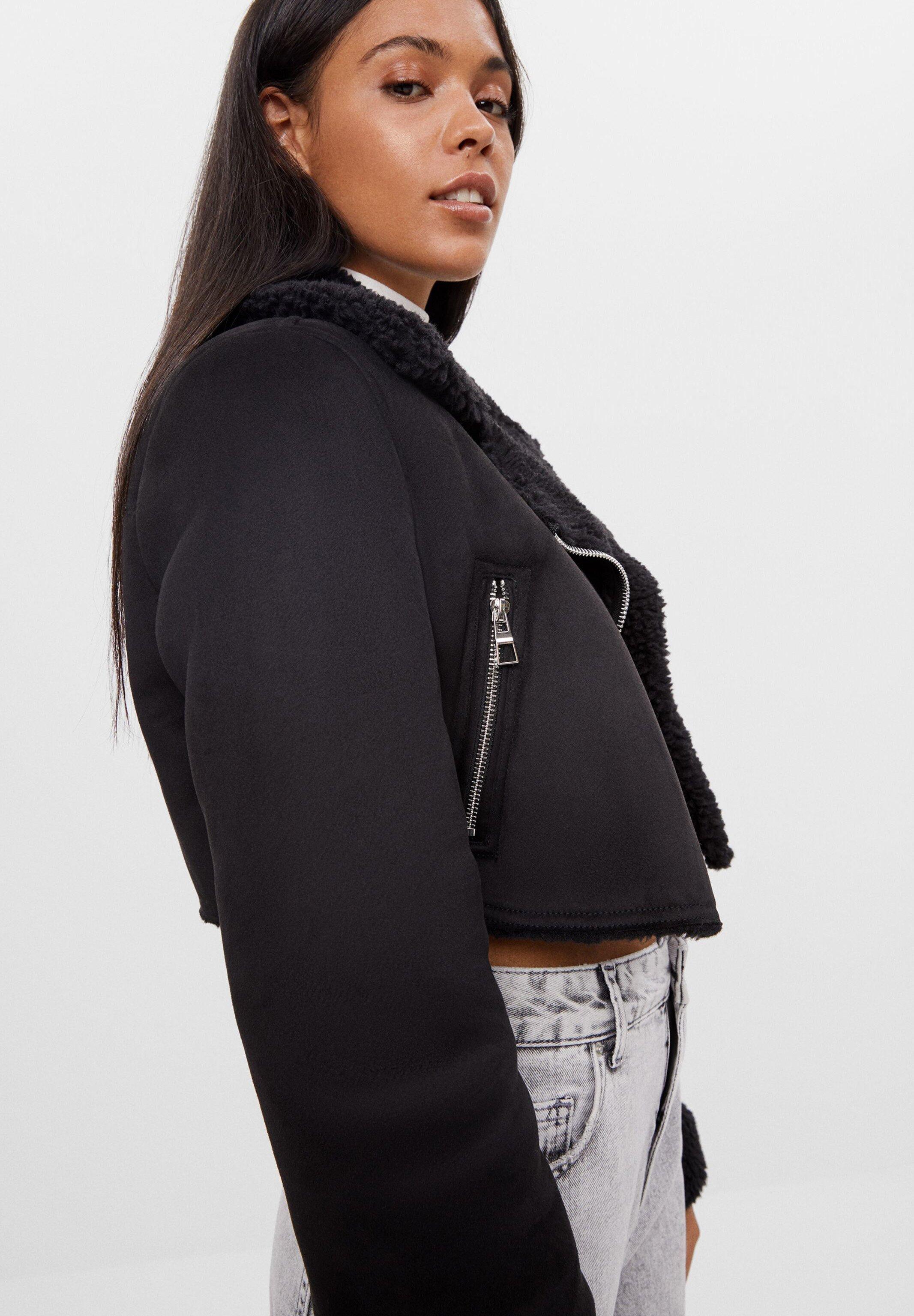 Bershka Cropped Doubleface Leather Jacket Black Zalando De