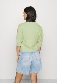 Monki - PUFFY CARDIGAN - Cardigan - green dusty light - 2