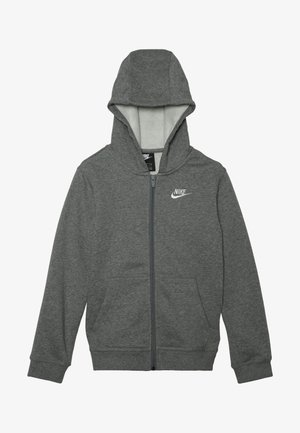 HOODIE CLUB - Sudadera con cremallera - carbon heather/smoke grey/white