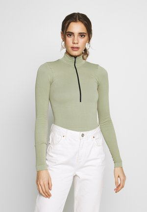 ZIP FUNNEL - Long sleeved top - green smoke