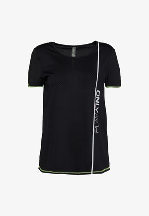 ONPALIX TRAINING TEE TALL - T-shirt con stampa - black/safety yellow/iridescent
