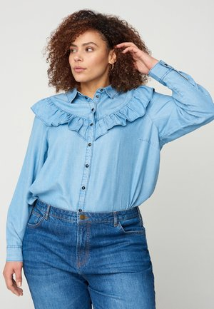 MIT RÜSCHEN - Button-down blouse - light blue
