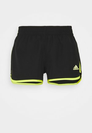SHORT - Sports shorts - black/acid yellow