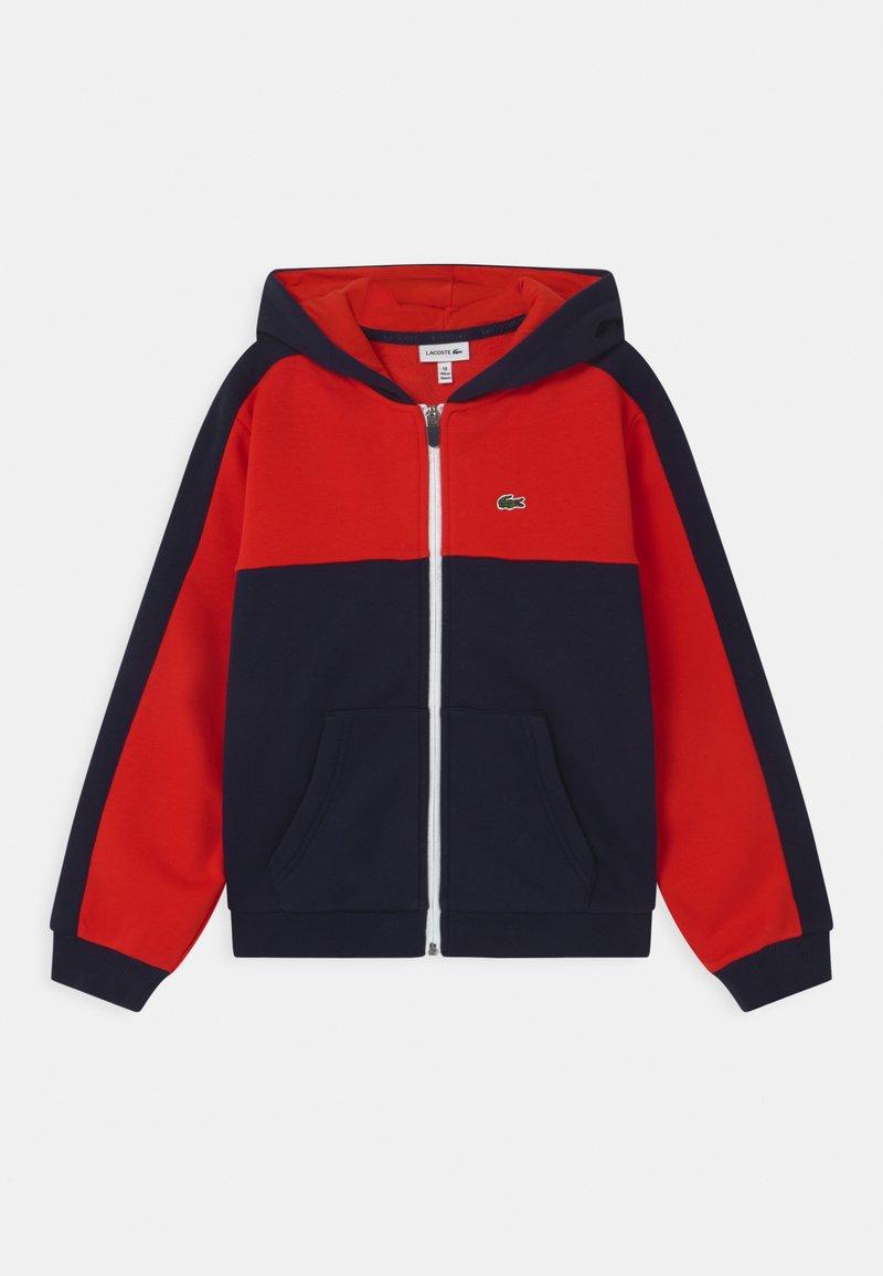 Lacoste - LOGO BLOCK - Zip-up hoodie - navy blue/redcurrant bush