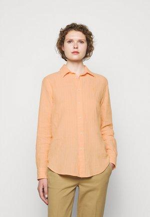 STRIPE LONG SLEEVE - Button-down blouse - peach/white