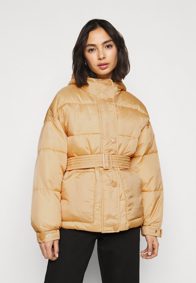 SELF BELTED PUFFER - Winter jacket - sand
