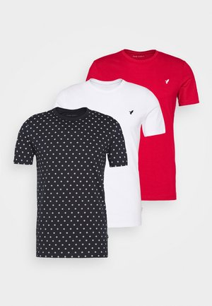 3 PACK - T-shirt print - white/dark blue/red