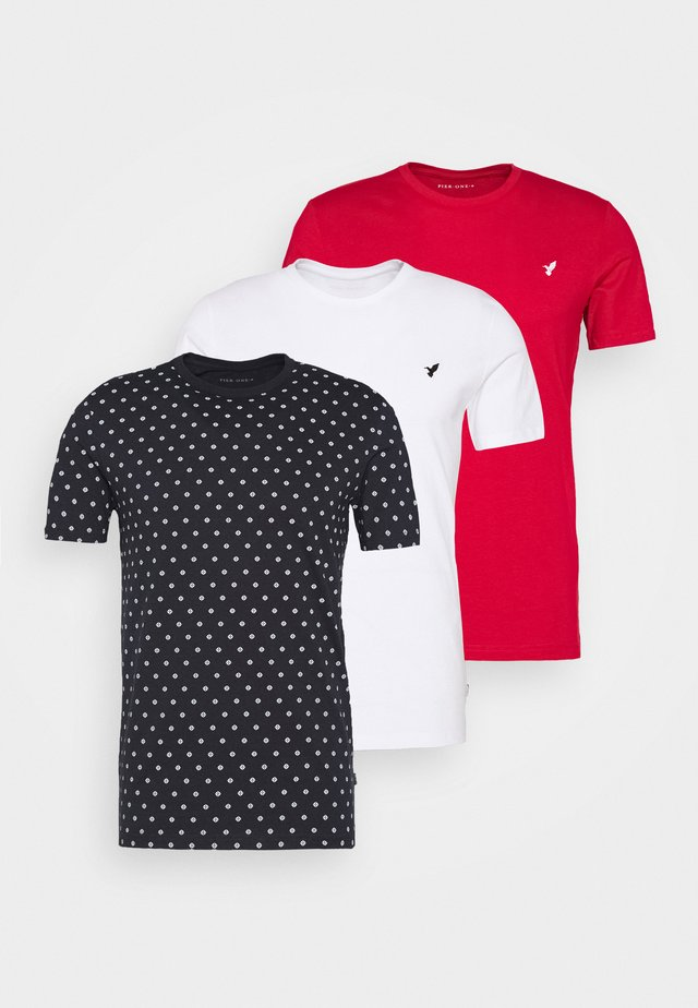 3 PACK - T-shirt imprimé - white/dark blue/red