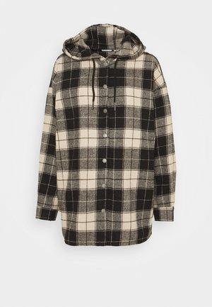NMFLANNY HOOD LONG SHACKET - Short coat - black/white