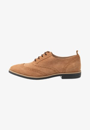 LEATHER FLAT SHOES - Snøresko - brown