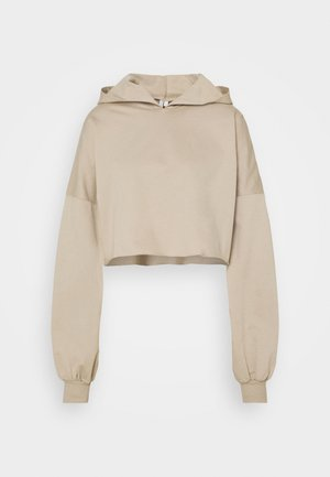 DROPPED CROPPED HOODIE - Sudadera - beige tuffet