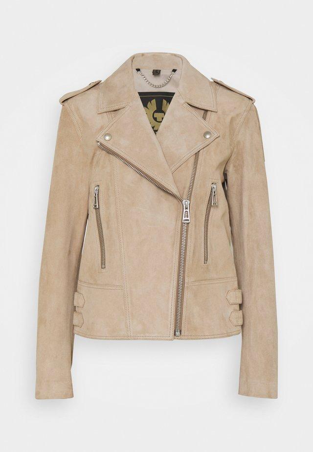 MARVINGT SUEDE TARP - Leather jacket - sand