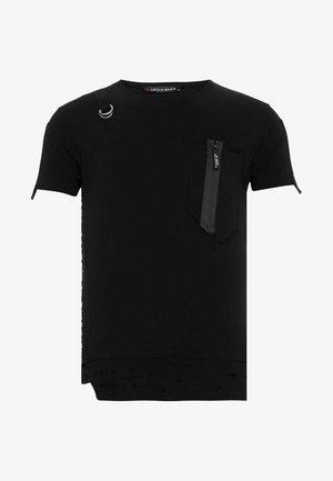 MIT ASYMMETRISCHEN APPLIKATIONEN - Print T-shirt - black