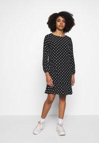 Wallis Petite - SPOT FLIPPY HEM SHIFT DRESS - Day dress - black - 1