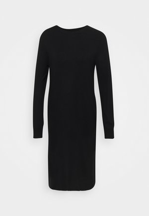 HEAVY KNIT DRESS LONGSLEEVE ROUND NECK - Strikket kjole - black