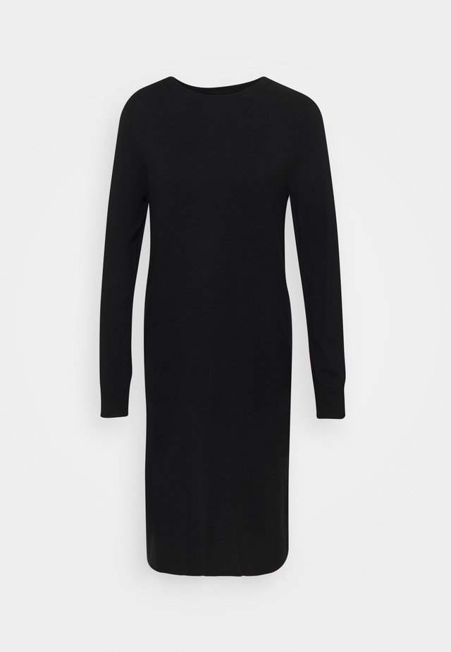 HEAVY KNIT DRESS LONGSLEEVE ROUND NECK - Pletené šaty - black