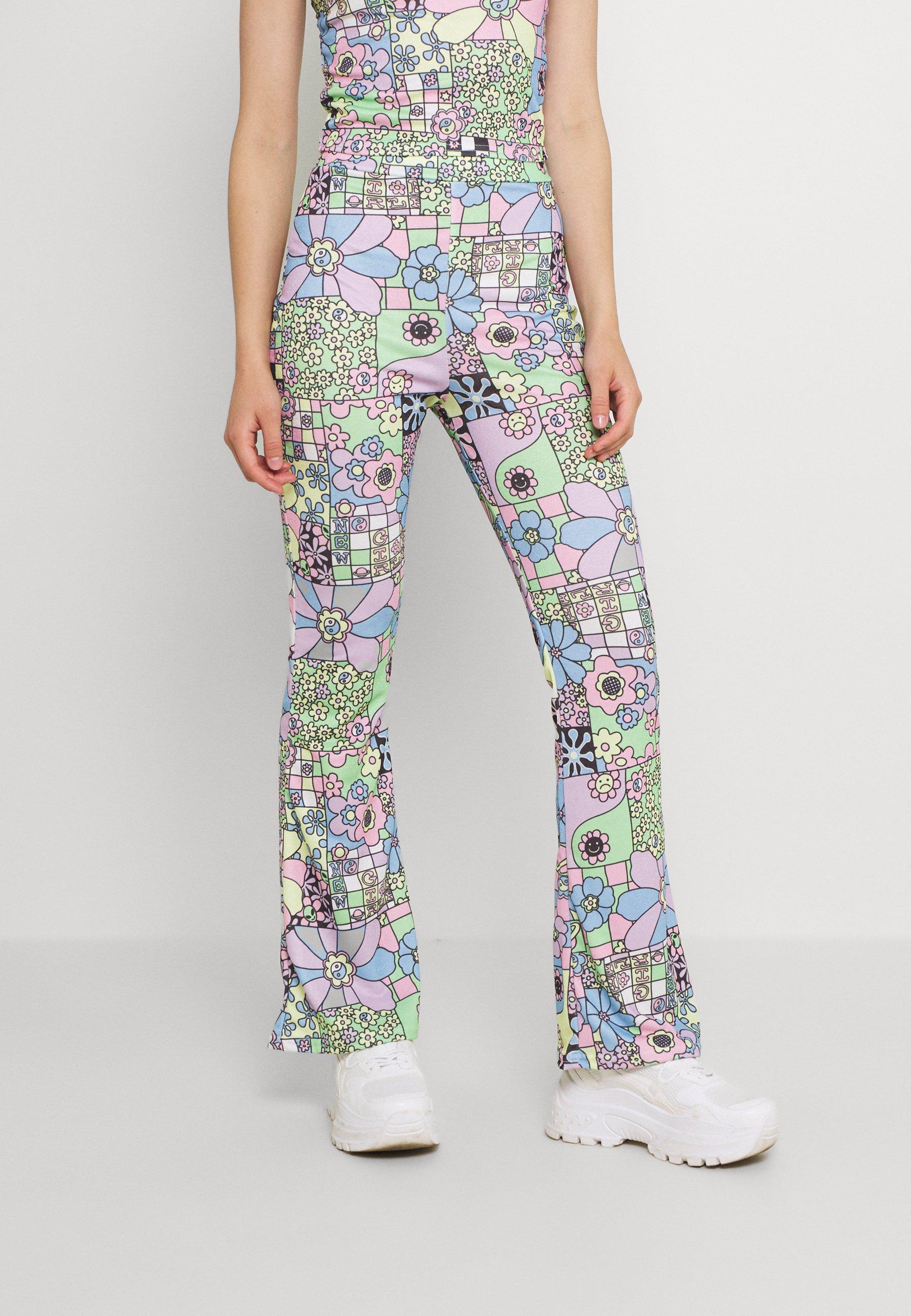Donna FLOWER POWER FLARE TROUSERS - Pantaloni