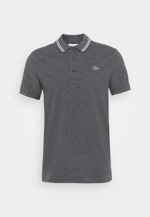 DETAILED COLLAR - Polo shirt - gris chine/blanc