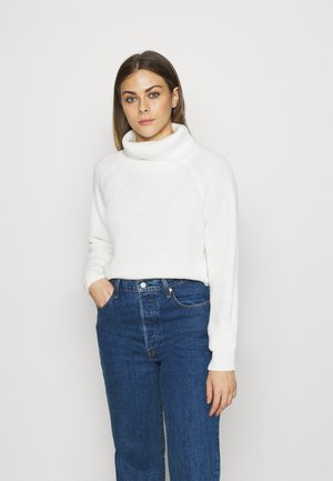 ROLL NECK BATWING CROP JUMPER - Jumper - off white