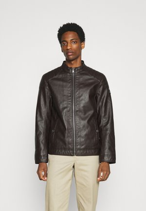 JACKET - Faux leather jacket - dark earth brown