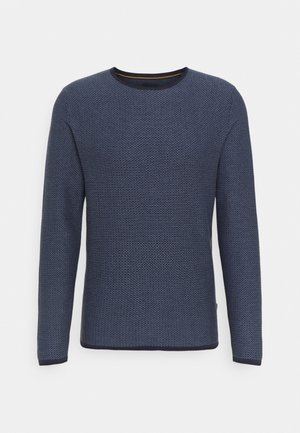 TWO TONE STRUCTURE O NECK - Jumper - navy