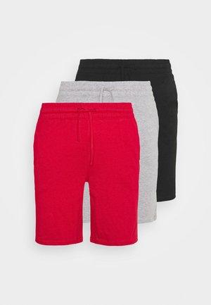 3 PACK - Pyžamový spodní díl - black/mottled dark grey/red