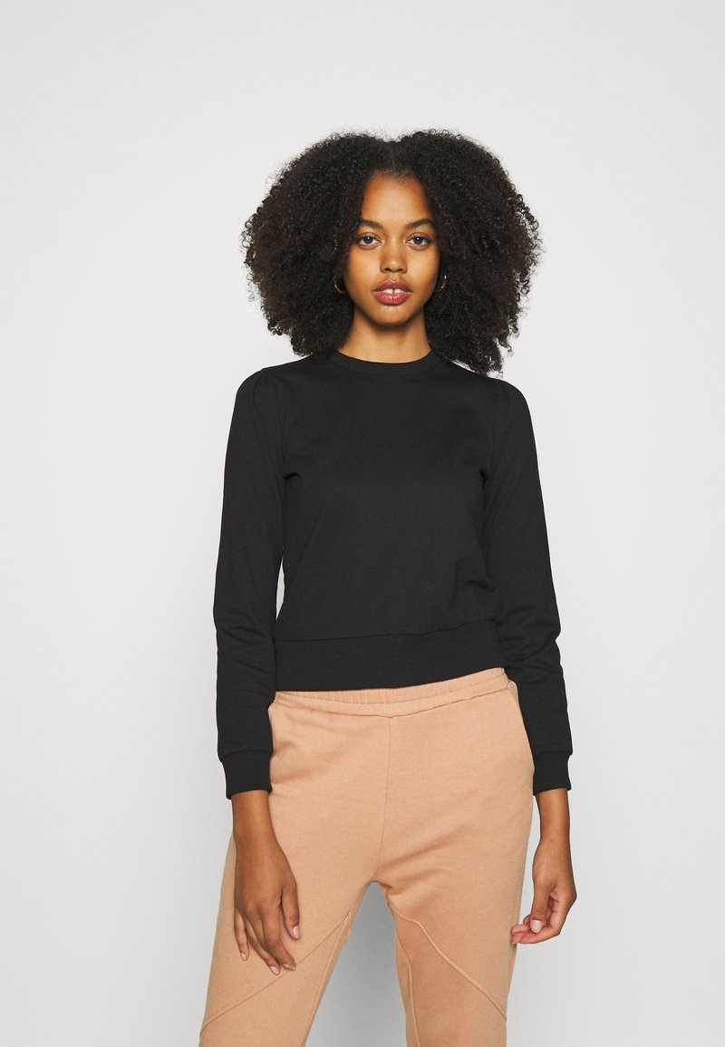 Even&Odd - BASIC REGULAR FIT CROPPED SWEATSHIRT - Sweatshirt - black