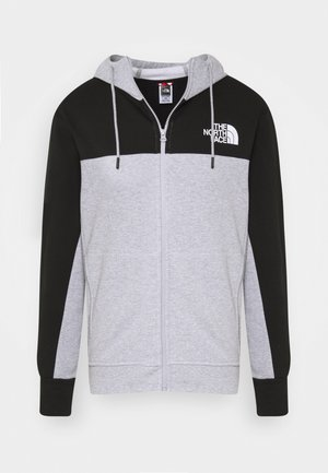 FULL ZIP HOODIE - Huvtröja med dragkedja - light grey heather/black