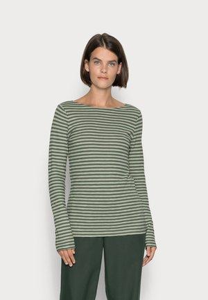 LONG SLEEVE BOAT NECK - Long sleeved top - dark green/light green