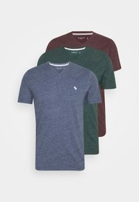 Abercrombie & Fitch - ICON V-NECK 3 PACK - Print T-shirt - red/blue/green - 6
