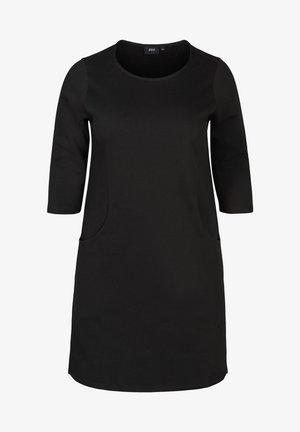 AUS BAUMWOLLE MIT TASCHEN UND A-LINIE - Gebreide jurk - black