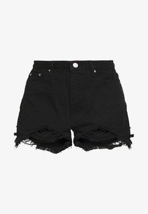 EXTREME FRAY HEM RIOT - Denim shorts - black