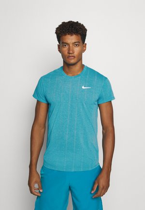 T-shirts print - neon turquoise/white