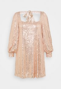 Missguided Plus - BALLOON SLEEVE TIE BACK SEQUIN DRESS - Cocktail dress / Party dress - gold - 0