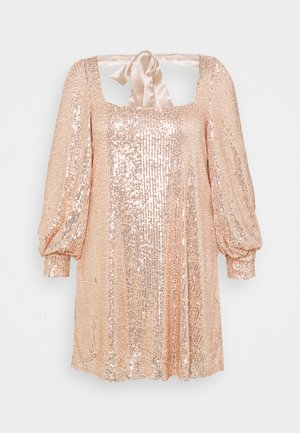 BALLOON SLEEVE TIE BACK SEQUIN DRESS - Cocktailjurk - gold