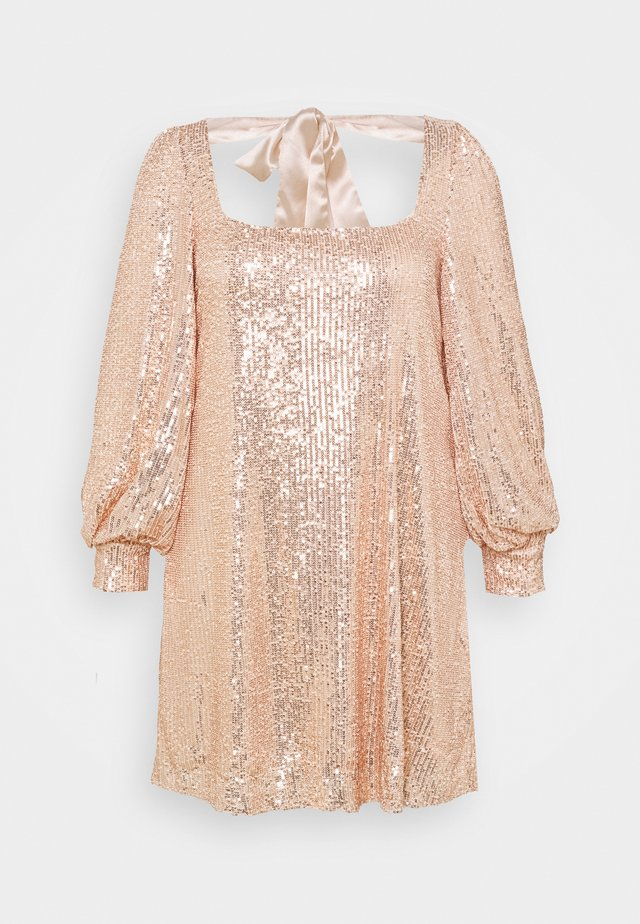 BALLOON SLEEVE TIE BACK SEQUIN DRESS - Juhlamekko - gold