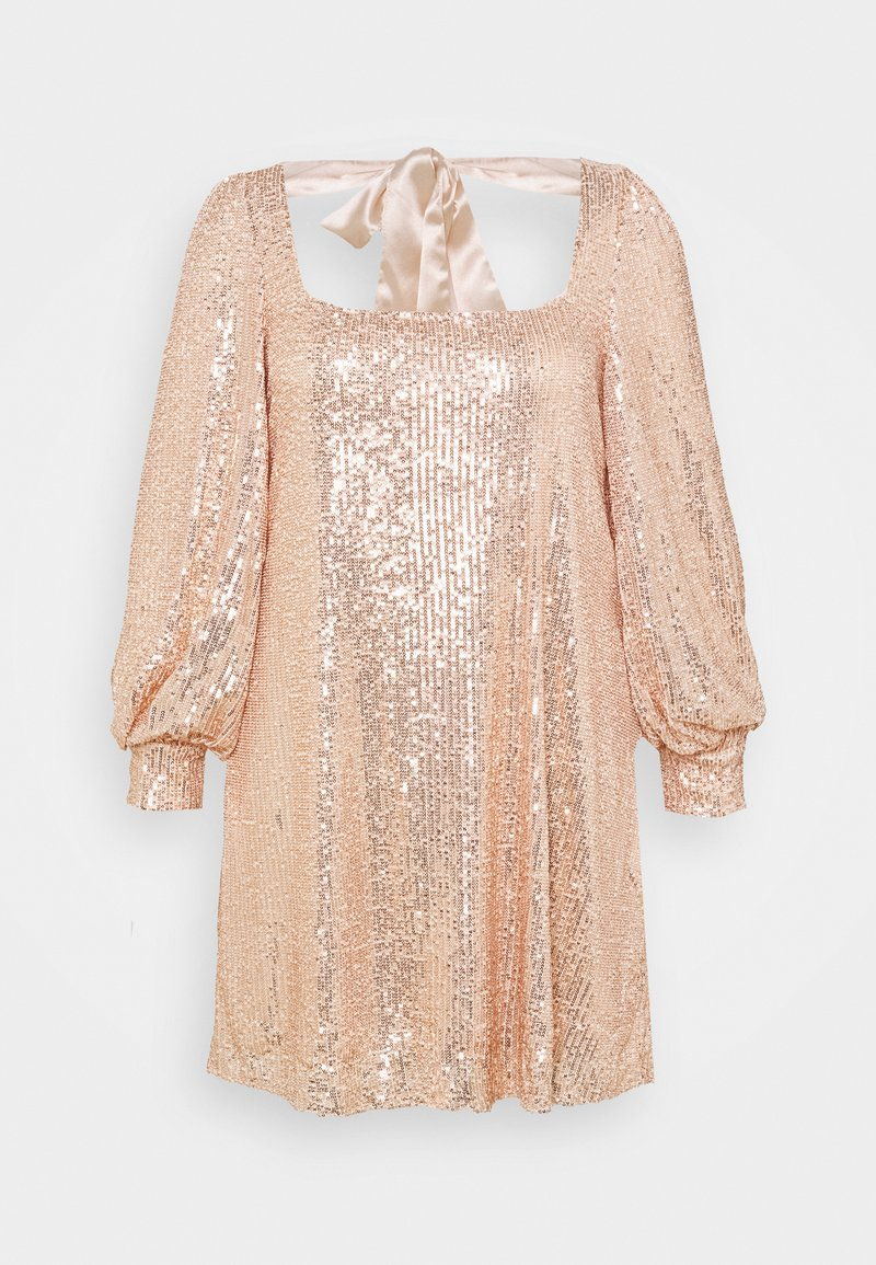 Missguided Plus - BALLOON SLEEVE TIE BACK SEQUIN DRESS - Cocktail dress / Party dress - gold