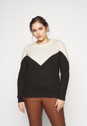 VMPLAZA - Jumper - birch/chocolate plum melange