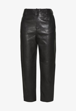 KARLIE TROUSER - Leather trousers - black