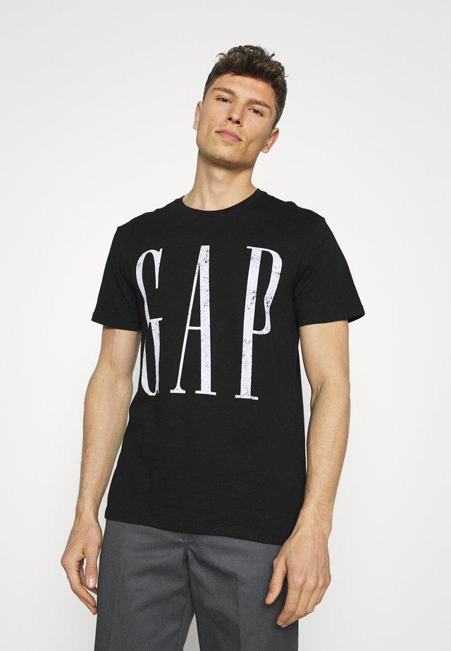 LOGO DISTRESS - T-shirt z nadrukiem - true black