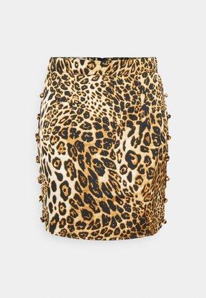 BUTTON DOWN SIDE MINI SKIRT - Mini skirt - brown