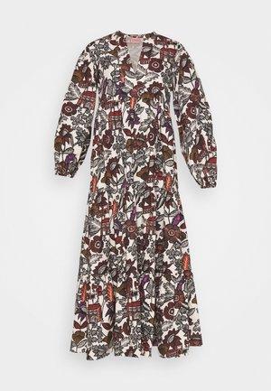 VOLUMINOUS PRINTED DRESS - Sukienka letnia - white/brown