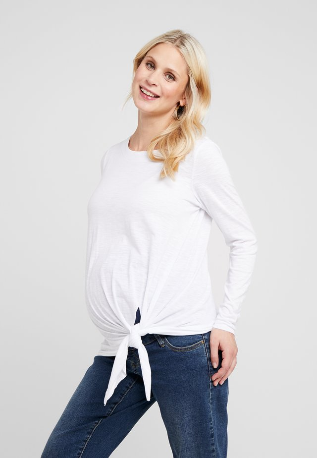 SIDE TIE KNOT - Long sleeved top - white